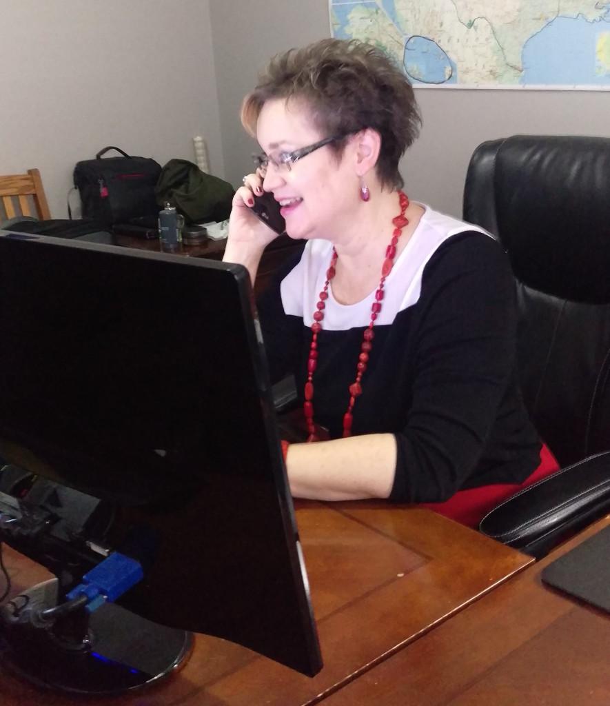 Angela Working at Desk